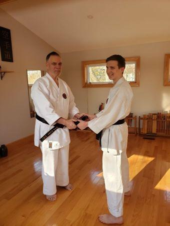 Morgan Receiving his Signature Obi having passed Nidan